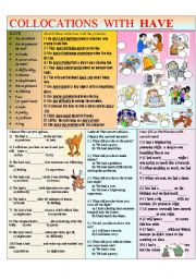 English Worksheet: COLLOCATIONS WITH HAVE