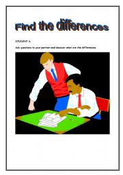 English Worksheets: Find the diffeences