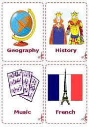 English Worksheet: School Subjects - Flash-card