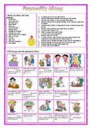 English Worksheet: Personality idioms 4