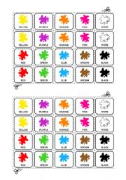 English Worksheet: The colours game