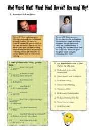 Simple reading with question words and present simple + - ?