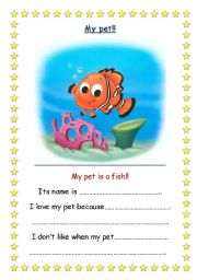 English Worksheets: My Pet! (fish) 2 pages