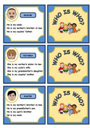 English Worksheet: WHO IS WHO? FAMILY GAME (PART 2)