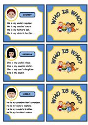 English Worksheet: WHO IS WHO? FAMILY GAME (PART 3)