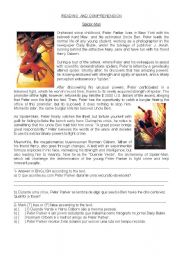 English Worksheets: READING AND COMPREHENSION-SPIPDER MAN