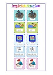 English Worksheet: Irregular verbs memory game ( 5 of 6)