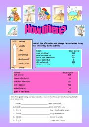English Worksheets: Daily Routines - (( 7 pages )) - Adverbs/Comparisons/ - Elementary - Editable