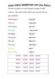 English Worksheets: Animal sentences