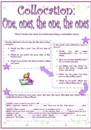 English Worksheet: One, ones, the one, the ones