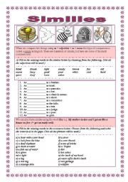English Worksheets: Similes LIKE-AS, 2 pages+key