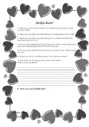 English Worksheets: Borken heart?