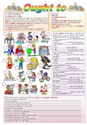 English Worksheet: Ought to (Grammar guide + exercises = fully editable)