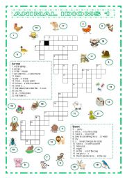 English Worksheet: Animal Idioms 1 criss-cross