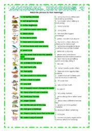 English Worksheet: Animal Idioms 1 matching