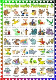 English Worksheets: FUNNY IRREGULAR VERBS PICTIONARY (2-2) B&W VERSION INCLUDED