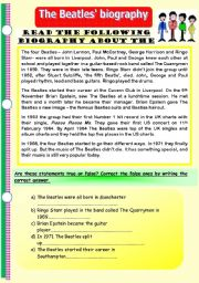 The Beatles´ biography. Reading comprehension plus various exercises on different verb tenses. (Editable)