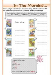 English Worksheet: In the morning.... Routines