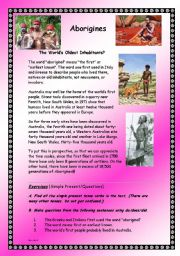 Australian Aborigines - The Natives  - Complete Grammar Unit of Work -Intermediate - (( 13 Pages )) - Editable
