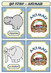 English Worksheets: GO FISH  GAME - ANIMALS (PART 1)