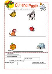 English worksheet: The Colours -Cut and paste