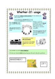 English Worksheets: WHETHER or IF? (3 pages)