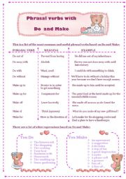 Phrasal verbs and expressions with Do and Make