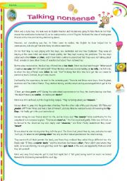 English Worksheets: Talking Nonsense! A funny story illustrating common missunderstandings caused by the different varieties of English (4 pages +key)