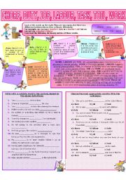 English Worksheet: COLLOCATION 55 - CHORE, DUTY, JOB, LABOUR, TASK, TOIL, WORK