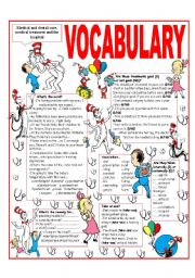English Worksheet: RECYCLING VOCABULARY - TOPIC: MEDICAL AND DENTAL CARE - MEDICAL TREATMENT AND THE HOSPITAL. Elementary & up.