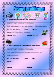 English Worksheets: Personal Identification - elementary - (( 4 pages )) - Editable