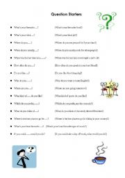 English Worksheets: Question Starters