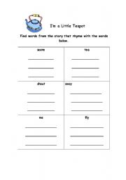 English Worksheets: I�m A Little Teapot