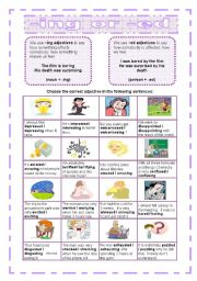 English Worksheet: -ing or -ed adjectives
