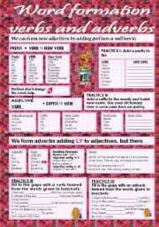 English Worksheets: Word formation - verbs and adverbs