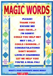 MAGIC WORDS - of politeness - classroom poster, stickers, ideas