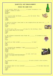English worksheet: quantity and Measurement