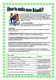 English Worksheet: How to make new friends Reading, poem  and activities