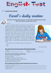 English Worksheet: TEST (version A) - Daily routine (for 5th graders)