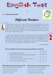 English Worksheet: TEST (version B) - Daily routine (for 5th graders)