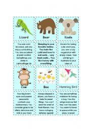 English Worksheet: I know who you are! (animal description cards)