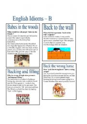 English Idioms - B