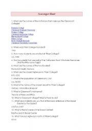 English Worksheets: Scavenger Hunt