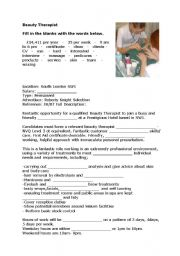 English Worksheets: Beauty Therapist
