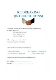 English Worksheets: ICEBREAKING (Introductions for Business English Students)