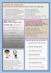 English Worksheets: Questions & general grammer worksheet