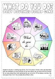 English Worksheet: Daily Routines Board Game