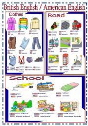 English Worksheet: British English  / American English - handout