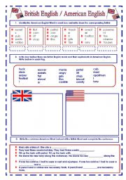 English Worksheet: British English  / American English