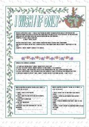 English Worksheet: I WISH / IF ONLY